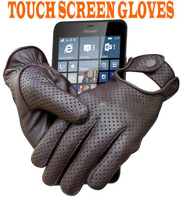 REAL SHEEP MESH LEATHER DRIVING FASHION DRESS MEN'S GLOVES TOUCH SCREEN brown