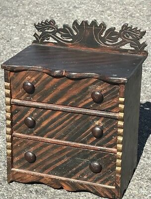 Spectacular 19th C. Maine Grain Painted Salesman Sample Pine 3 Drawer Chest