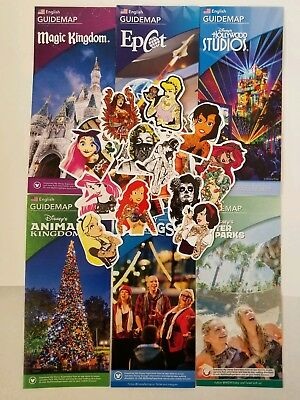 2018 Walt Disney World Theme Park Guide Maps 6 Current Maps+ BONUS FREE  STICKER
