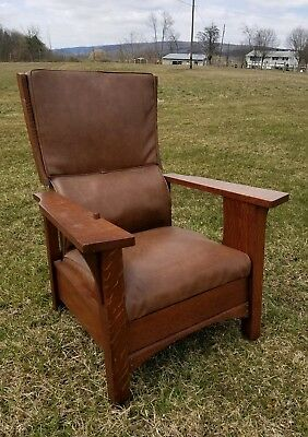 Antique Mission Style Morris Chair Stickley Style Oak