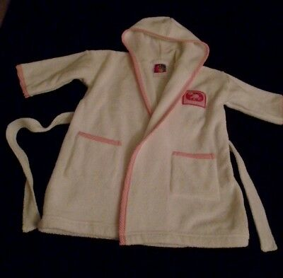 Bebe Bonito Baby girl's white towelling hooded dressing gown size 6-9 months