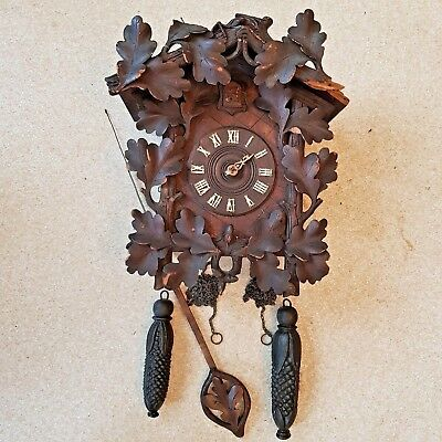 OLD Black Forest Germany Cuckoo Clock Carved Wooden Leaf Corn Iron Weights Fixer