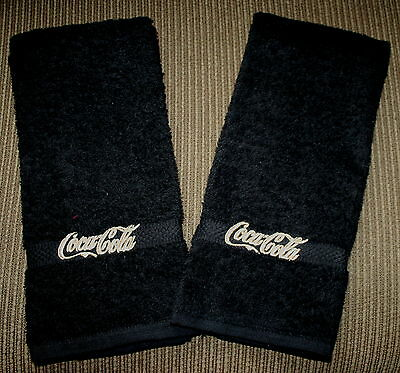 """""""Coca Cola Inspired"""" 2 Black Hand towels w/goldtone/tan thread New embroidered"""