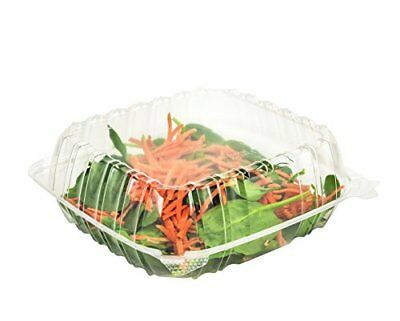 """Dart Solo Dart 8"""" x 8""""x 3"""" Clear Plastic Hinged Food Take-Out Container 1-Com..."""