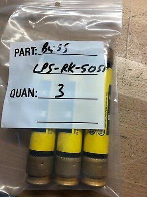 BUSSMANN  LPS-RK-50SP 600V, 50A, Low Peak Time Delay Fuse Class RK1, LOT OF 3