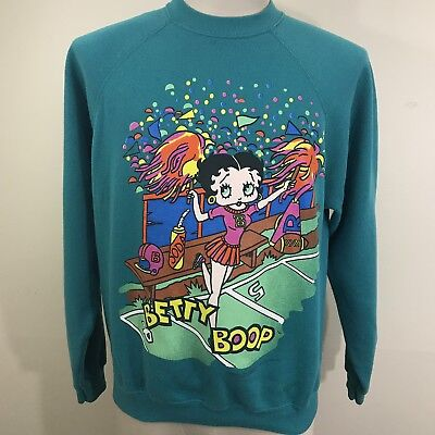 VTG 90s Betty Boop Cheerleader 50/50 Teal Sweatshirt M/L Cartoon TV Shirt 80s