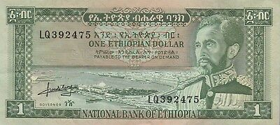 """Ethiopia,1 Dollar Banknote,(1966) Choice Very Fine Condition,Cat#25-A""""Hallie S,"""""""