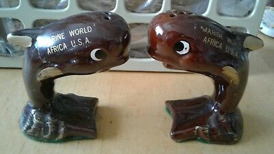Vintage Marine World Africa U.S.A. Salt & Pepper Shakers WHALES