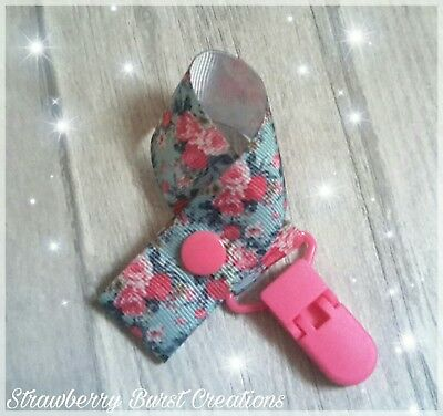 Dummy Clip Strap Handmade. Cath Kidston Inspired Floral Print Baby Shower Gift