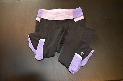 Girls Ivivva Leggings, Size 6, Black with purple/pink,  great condition