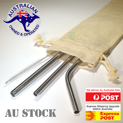 Stainless Steel Reusable Metal Drinking Straw Eco Friendly 3 Straws Variety Pack