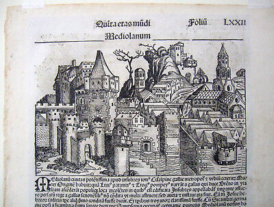 Rare original 1493 Nuremberg Chronicle (Latin) leaf, Mediolanum (Milan) woodcut