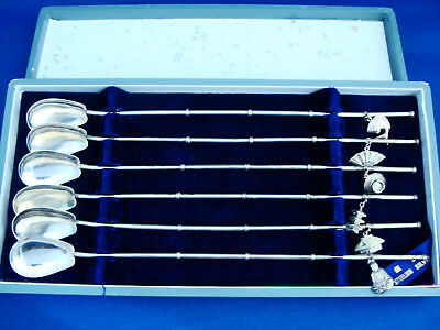 Vintage Japanese 925 Sterling Silver Set Of Six Straw Spoons With Charms In Box