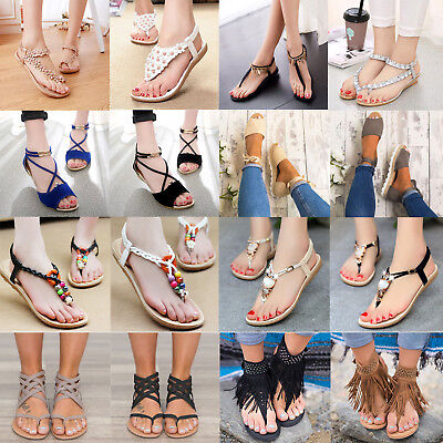 39389737165c Boho Women Clip Toe Sandals Summer Flats Beach Thong Shoes Slippers Flip  Flops