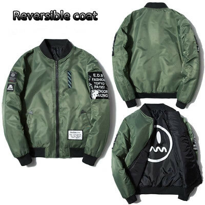 Men Embroidered Air Jacket Zipper MA1 Army Flight Bomber Jacket Coat Outwear AU