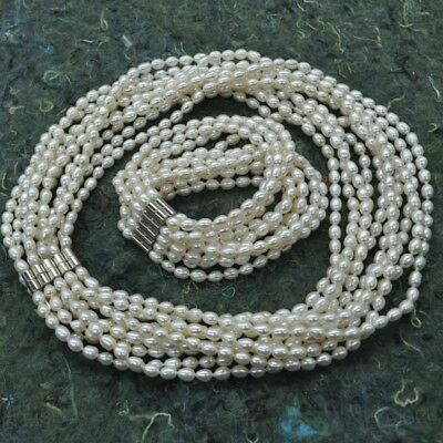 fine smaill rice natural freshwater pearl set necklace & bracelet magnet clasp