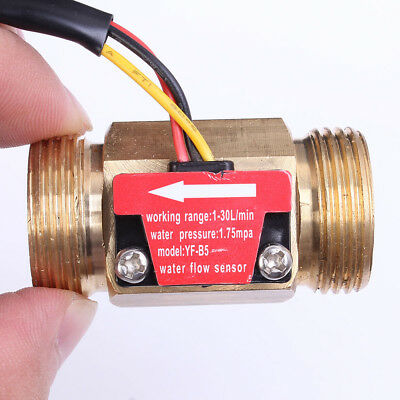 "G1/2"" G3/4"" Thread Hall Effect Liquid Water Flow Sensor Switch Flow Meter"