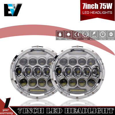 2x 7'' H4 H13 Round Angel Eye LED Hi/Lo Headlight For 97-18 Jeep Wrangler JK TJ