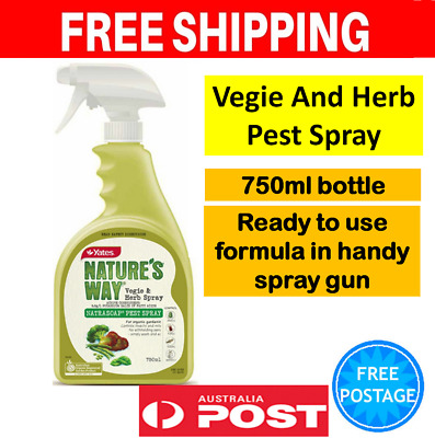 Yates Vegie And Herb Pest Spray 750ml Bottle Organic Garden Insecticide Whitefly