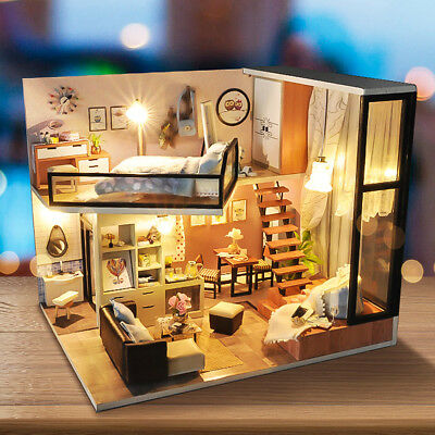 Modern Doll House Miniature DIY Dollhouse With Furniture LED Light Box Gift Kit