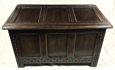 Antique Carved Oak Coffer Blanket Box Shoe Toy Storage Coffee Table c1900