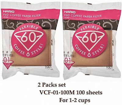 Hario V60 Coffee Paper filter Brown 100 sheets VCF-01-100M 1-2 cups 2 Packs set