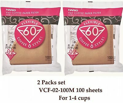 Hario V60 Coffee Paper filter Brown 100 sheets VCF-02-100M 1-4 cups 2 Packs set