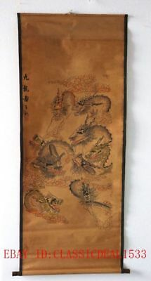 Old Collection Scroll Chinese Ink And Wash Painting / Nine Dragons
