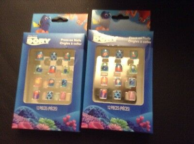 Lot Of 2 Disney Finding Dory Press On Nails Set 12 Pieces New