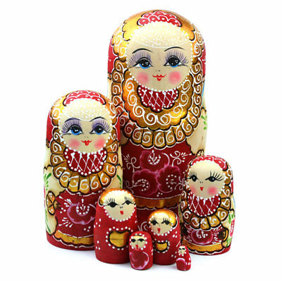 7pcs Wooden Russian Nesting Dolls Braid Girl Toy Traditional Matryoshka Dolls AU