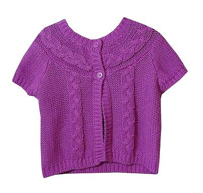 Baby Girls F&F Pink Chunky Knit Cape Shrug Short Sleeve Cardigan Age 6-9 Months