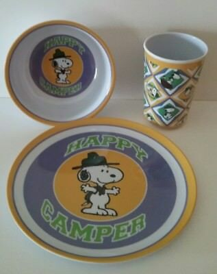 Peanuts Snoopy Melamine Plastic Plate Cup Bowl set by Gibson VGC