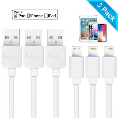 3-Pack USB Charger Data Cable Charging Lead Wire Cord for iPhone iPad iPod