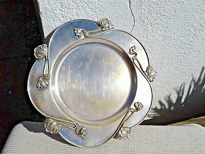Vintage Heavy Solid Art Deco Style Metal Fruit Dish Plate Tray