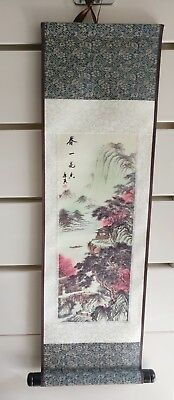A set of four Chinese scroll paintings on silk 18.7cm*49cm, Four Seasons