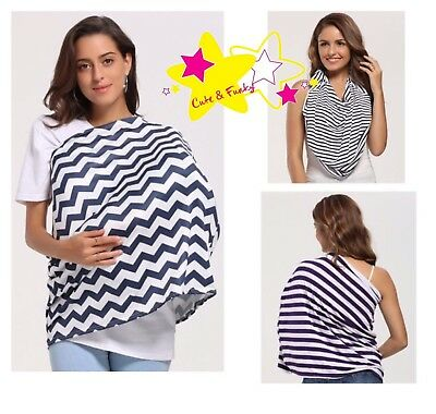 Breastfeeding Cover/Wrap Scarf Cute And Funky Purple, Navy Blue, Black Stripes