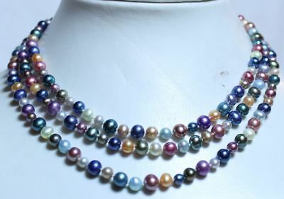 HONORA Pearl Necklace multicolour Perlen Collier 120 cm !! super luster!