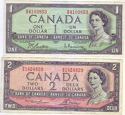 Bank Of Canada 1954 1$ & $2 Bank Note. Vf Nice Condition.