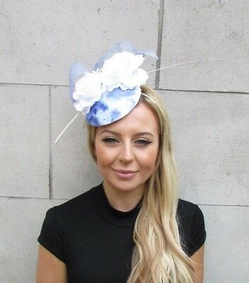 White Light Cornflower Blue Rose Flower Feather Pillbox Hat Hair Fascinator 5625