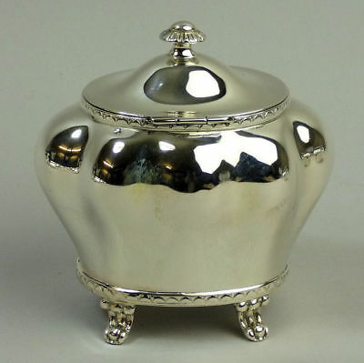 Edwardian Antique Silver Bombe Form Tea Caddy Birmingham 1904 - 154 Grams