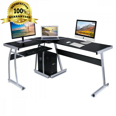 L Shaped Corner Computer Desk Workstation Pc Table With 2