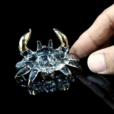 TINY CRYSTAL CRAB Hand Blown CLEAR GLASS ART Figurine Miniature Collectibles