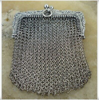 Antique French Victorian Sterling Silver Mesh Chatelaine Coin Bag Purse