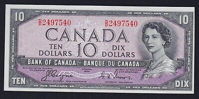 1954 Devil's Face Bank of Canada $10 Banknote Serial #D/D2497540 - Uncirculated