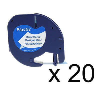 20PK LT 91331 91201 Compatible for Dymo White Plastic LetraTag Label Tape 1/2''