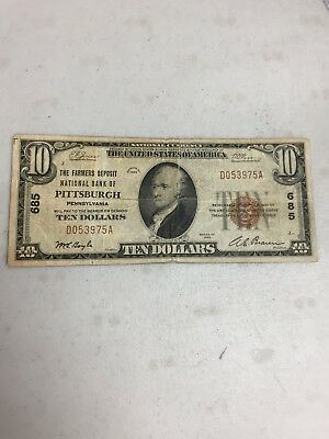 Series Of 1929 $10 The Farmers National Bank Of Pittsburgh Pa  National Currency