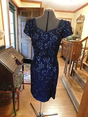 Gorgeous Navy Blue Alencon Lace With Sequenes  Mother Or Formal Dress Size 12