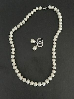 Sterling silver & fresh water pearl necklace and earrings set new without tags
