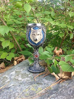 Game Of Thrones House Stark John Snow Wolf Resin Stainless Wine Goblet Glass Cup