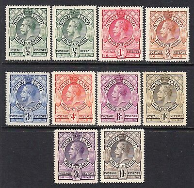 Swaziland Protectorate 1933 KG V part set to 10s, M/H